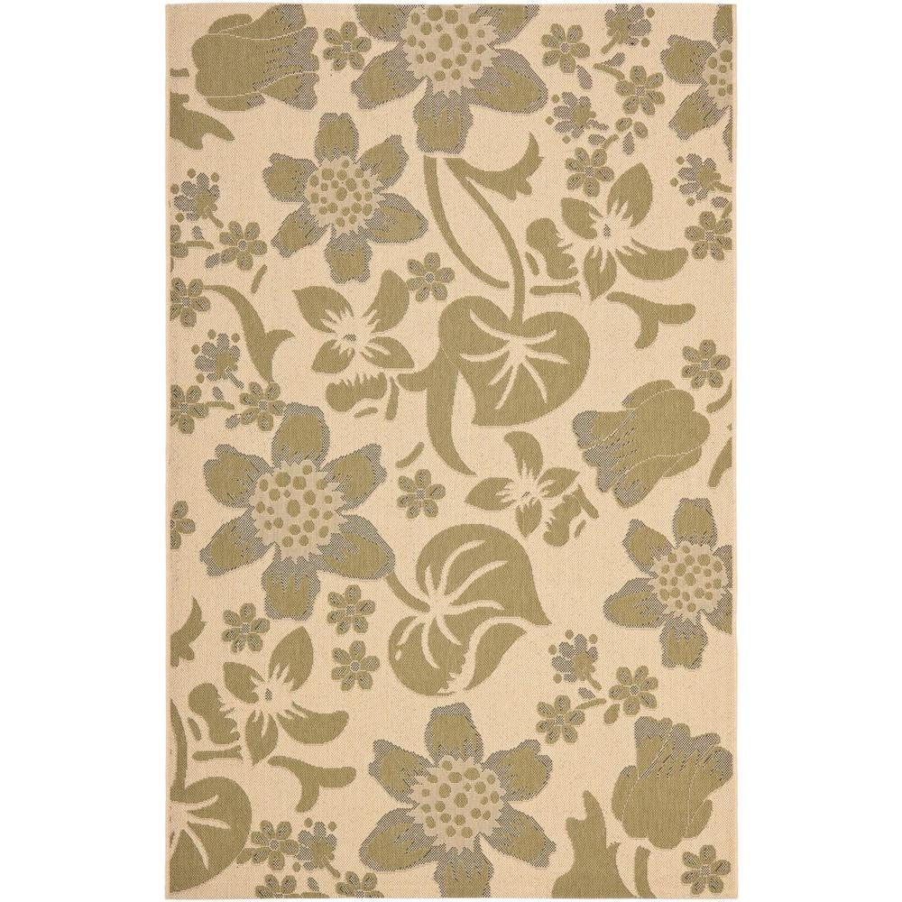 Safavieh Courtyard Cream/Green 6 ft. 7 in. x 9 ft. 6 in. Indoor/Outdoor Area Rug