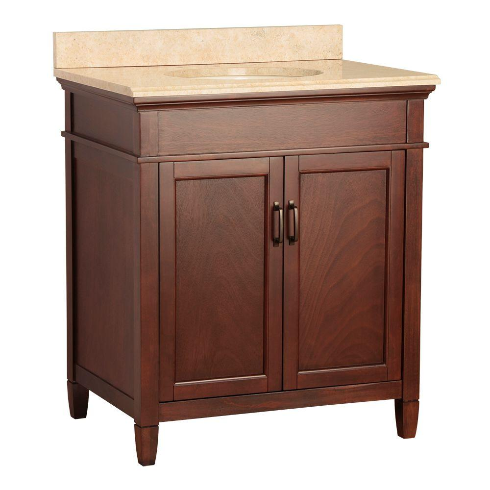 Foremost Ashburn 31 In W X 22 In D Vanity In Mahogany With Vanity Top And Stone Effects In