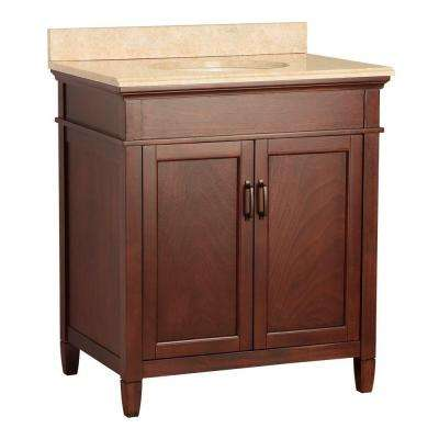 Ashburn 31 in. W x 22 in. D Vanity in Mahogany with Vanity Top and Stone Effects in Oasis