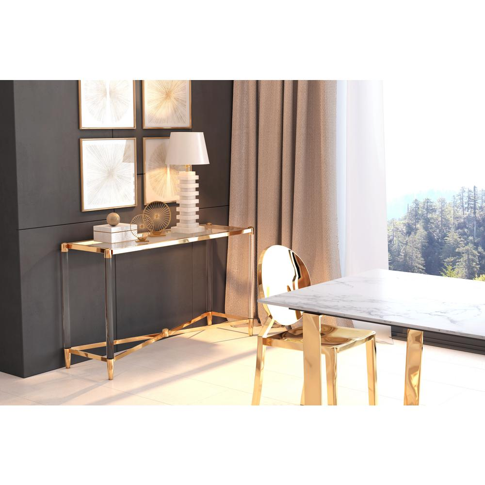 ZUO Existential Gold Console Table