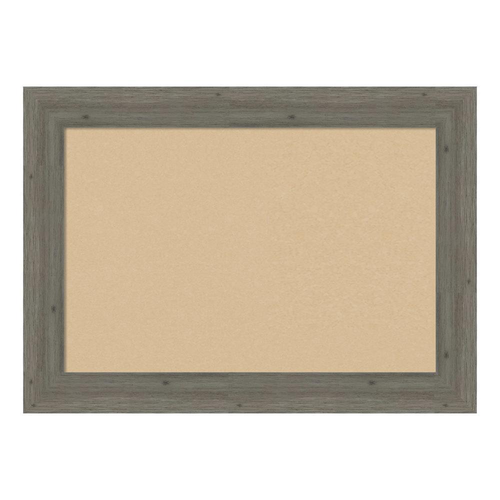Fencepost Grey Narrow Framed Beige Cork Memo Board