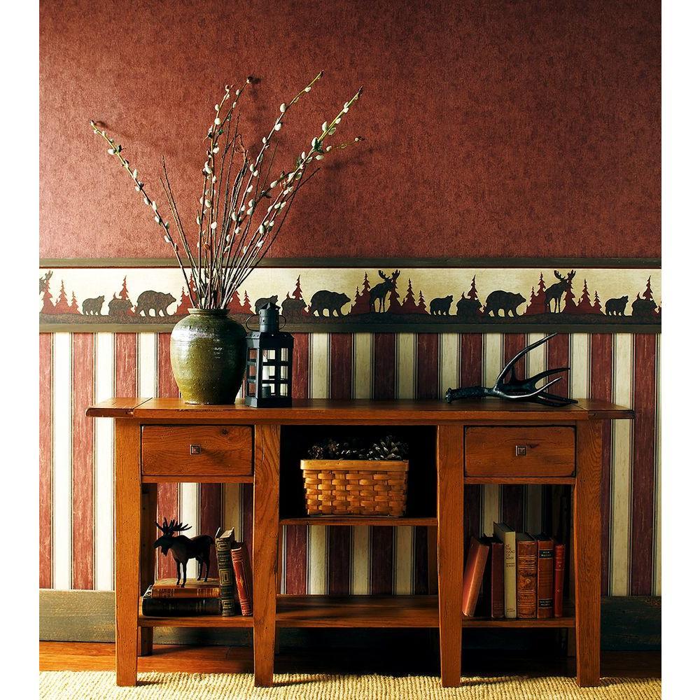 Brewster Northwoods Lodge Red Crackle Texture Wallpaper Sample