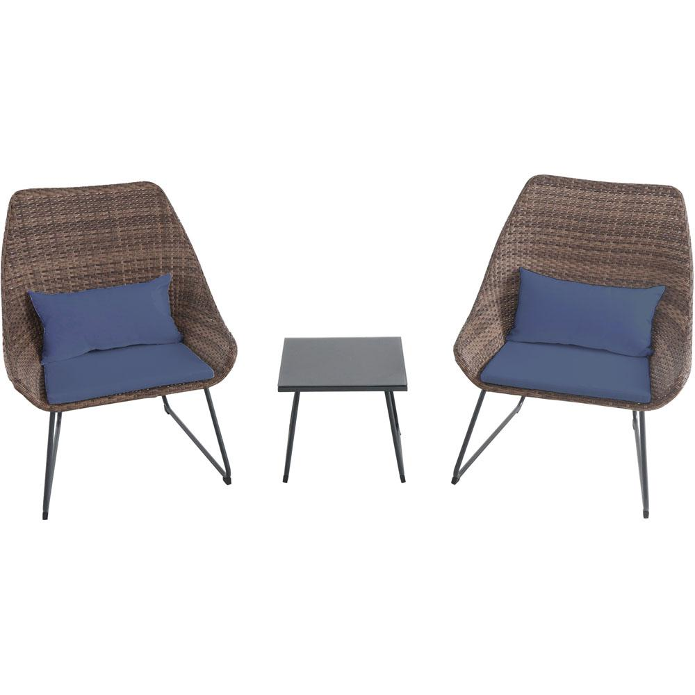 3-Piece Wicker Patio Conversation Set with Navy Blue Cushions