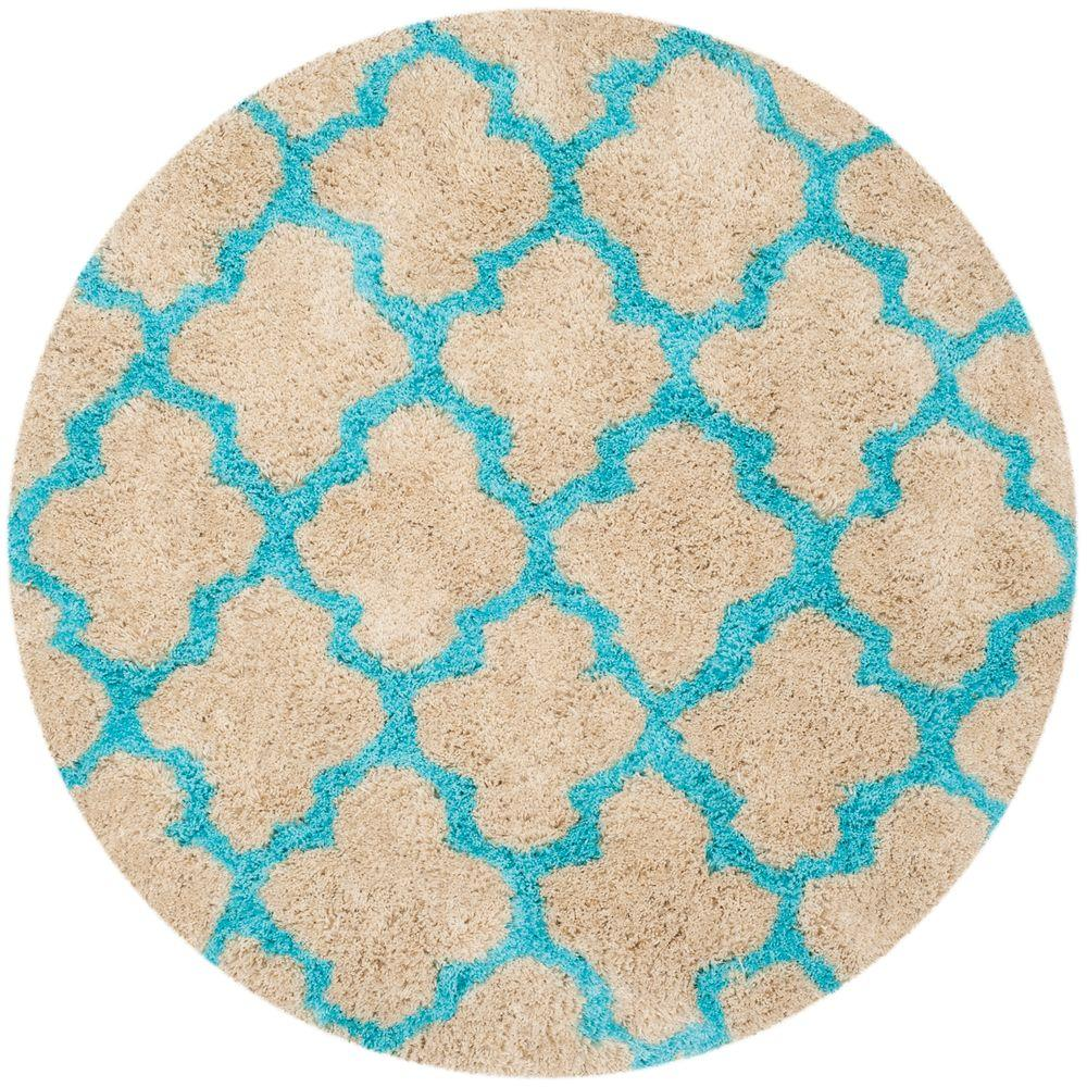 Barcelona Shag Cream/Blue 5 ft. x 5 ft. Round Area Rug