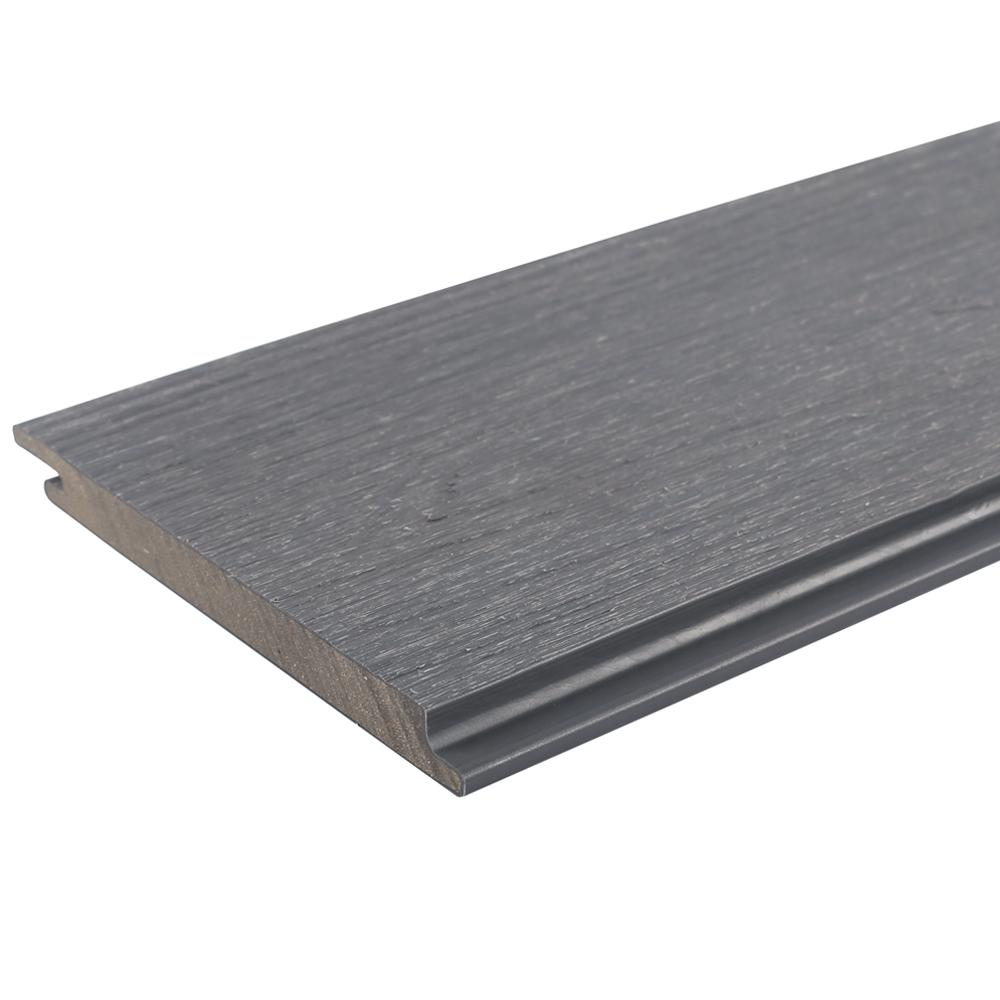 NewTechWood All Weather System 0.5 in. x 5.5 in. x 1 ft. Westminster Gray Composite Siding Sample Board