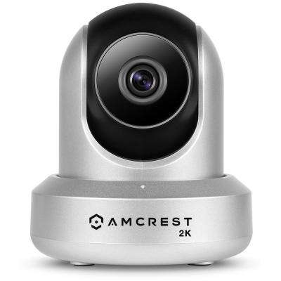UltraHD 2K (3MP/2304TVL) Wi-Fi Wireless Security IP Camera with Pan/Tilt/Dual Band 2-Way Audio 3 MP at 20FPS, Silver