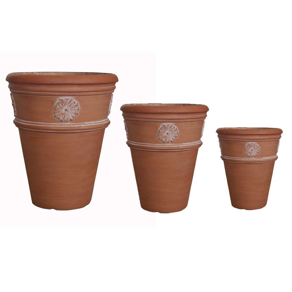 White Washed Terracotta Composite Flower Pots (Set of 3),...