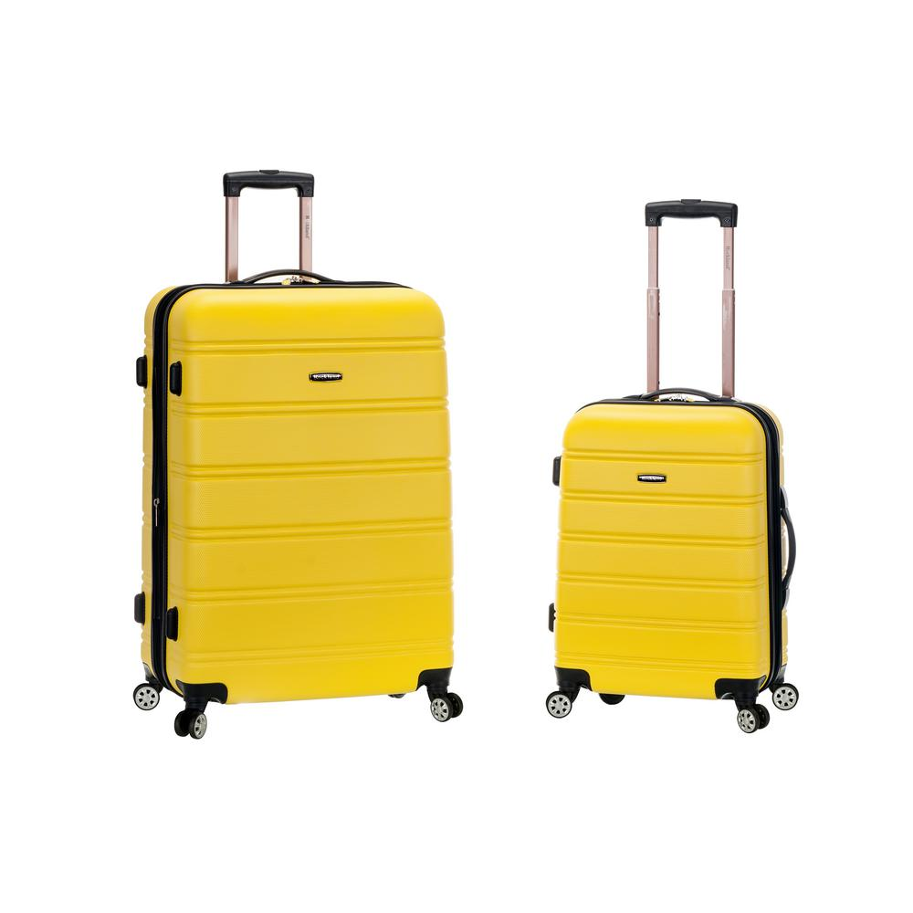 dee03ab38155 Rockland Melbourne Expandable 2-Piece Hardside Spinner Luggage Set, Yellow