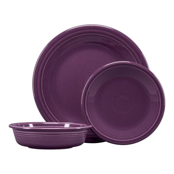 3-Piece Casual Mulberry Ceramic Dinnerware Set (Service for 1)