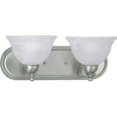 Avalon 2-Light Brushed Nickel Vanity Light with Alabaster Glass Shades