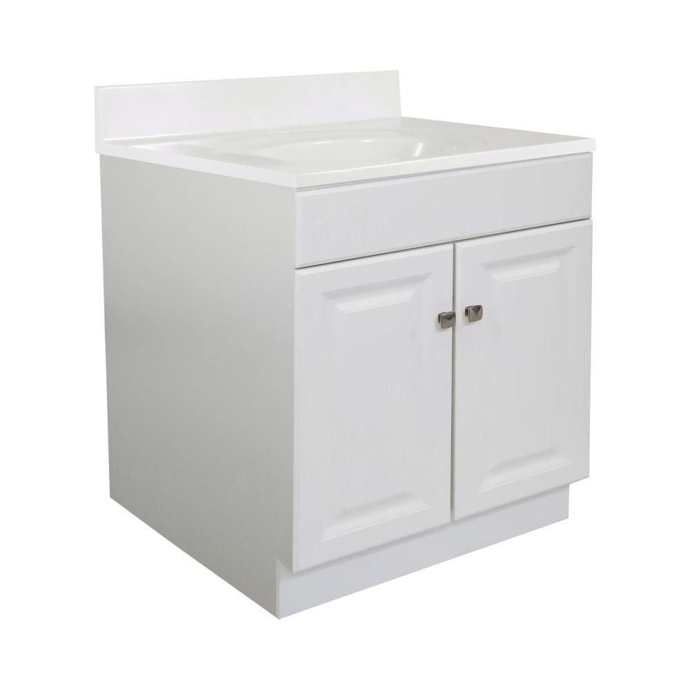 30 in. x 21 in. x 33.5 in. 2-Door Bath Vanity in White w/ 4 in. Centerset White on White CM Vanity Top With Basin