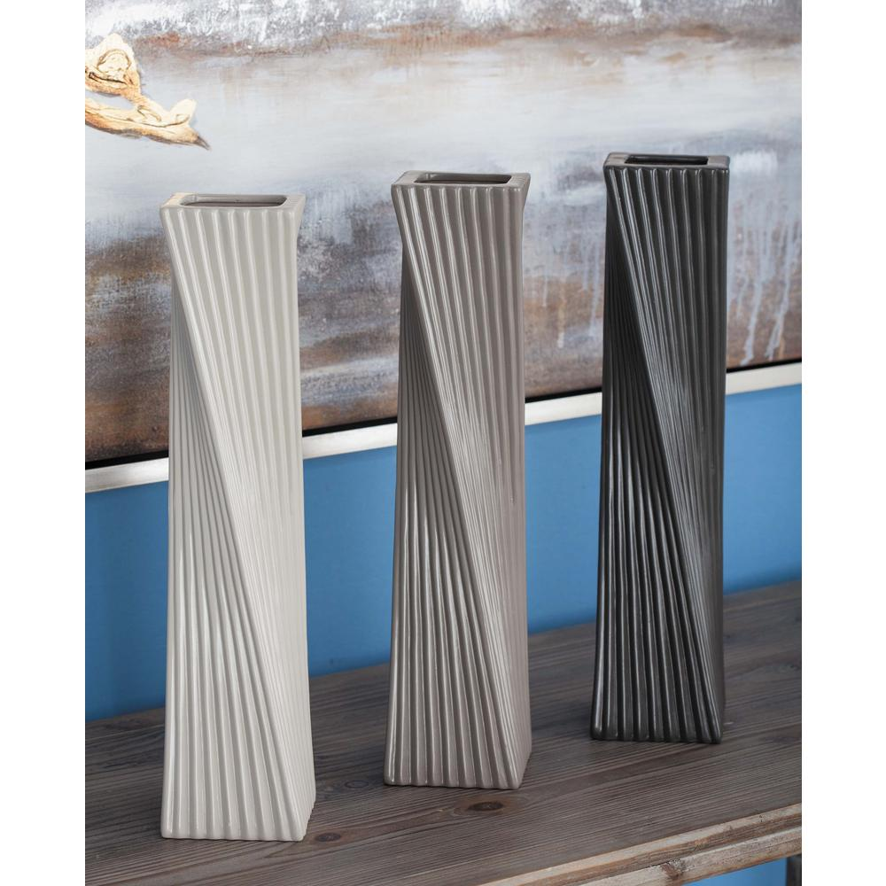 16 in. Twisted Ceramic Decorative Vases in Black, White and Gray