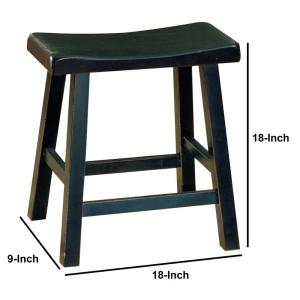 Tremendous Benjara Wooden 18 In Counter Height Black Stool With Saddle Machost Co Dining Chair Design Ideas Machostcouk