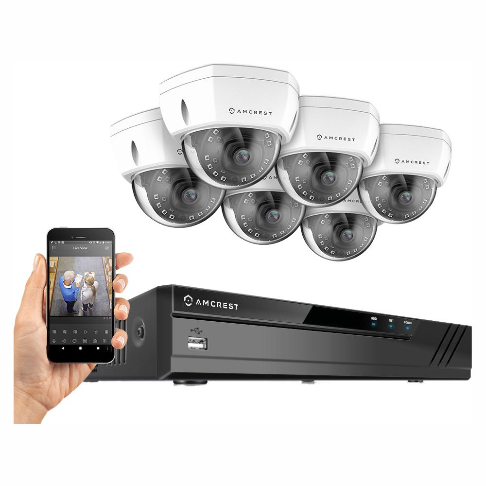Amcrest Plug & Play H.265 16-Channel 4K NVR 4MP 1440P Surveillance System with 6 Wired POE Dome Cameras with 98ft Night Vision