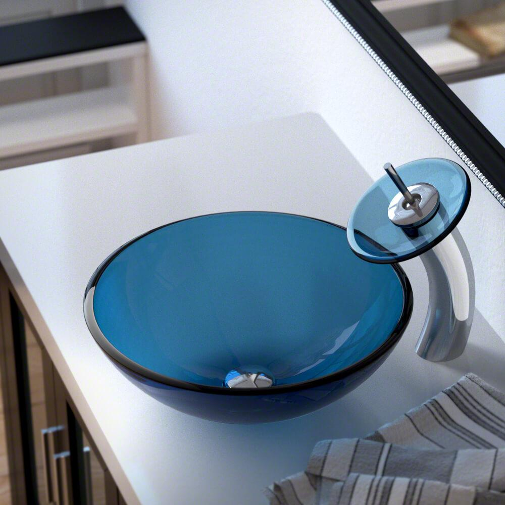Mr Direct Gl Vessel Sink In Aqua With Waterfall Faucet And Pop Up Drain Chrome