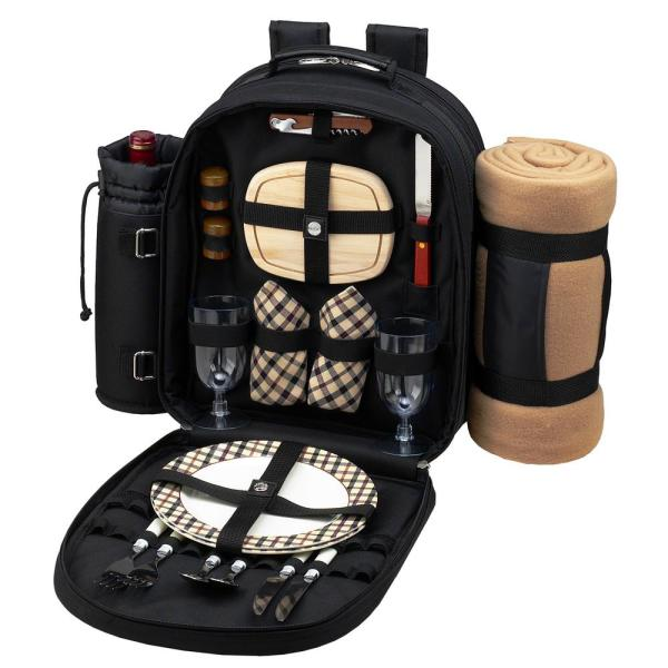 Deluxe Equipped 2-Person Picnic Backpack with Blanket in Black and London