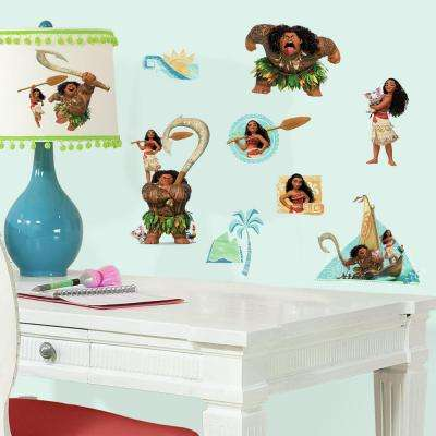 5 in. x 11.5 in. Disney Moana 25-Piece Peel and Stick Wall Decals