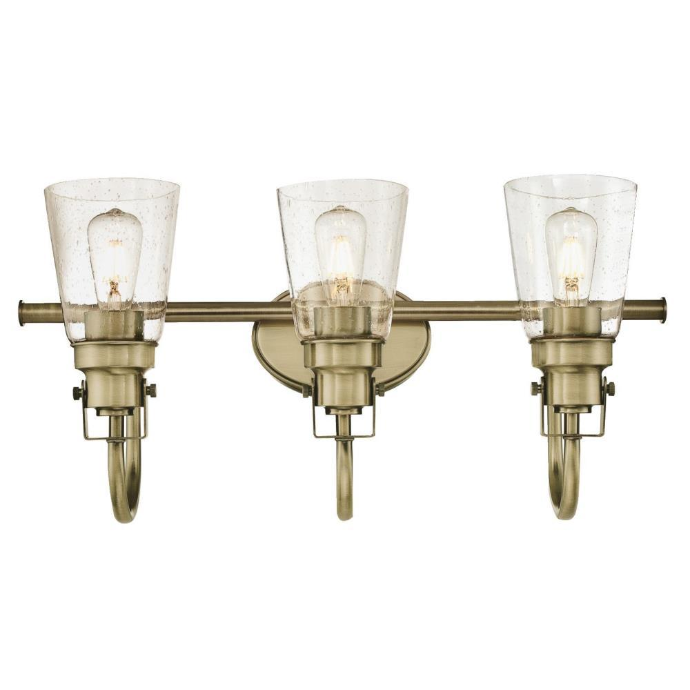 Westinghouse Ashton 3-Light Antique Brass Wall Mount Bath Light - Westinghouse Ashton 3-Light Antique Brass Wall Mount Bath Light