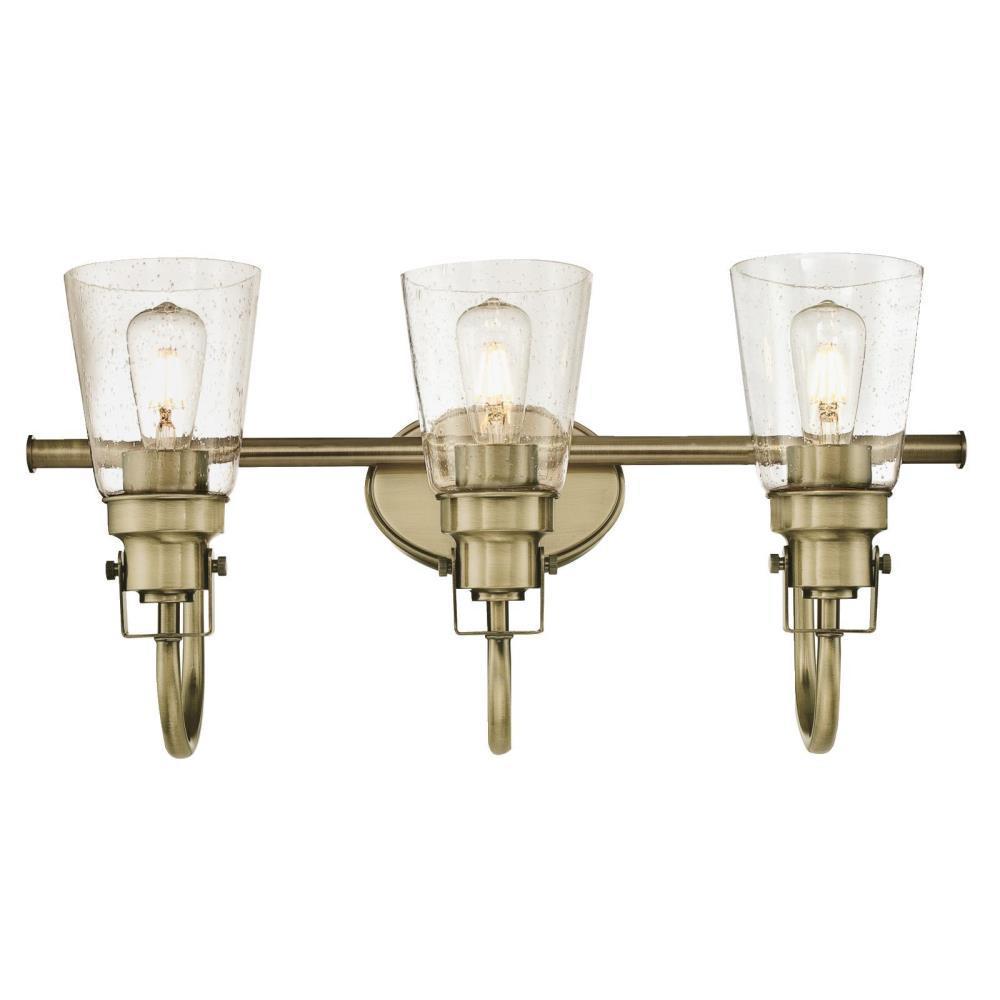 Ashton 3-Light Antique Brass Wall Mount Bath Light