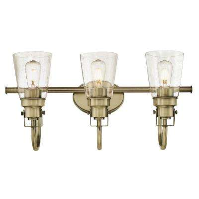 Ashton 3-Light Antique Brass Wall Mount Bath Light