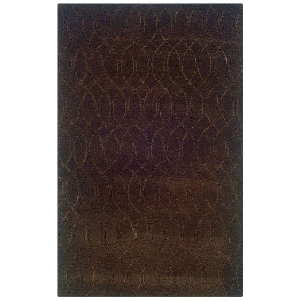 Linon Home Decor Ashton Collection Chocolate 5 Ft. X 8 Ft. Indoor Area Rug