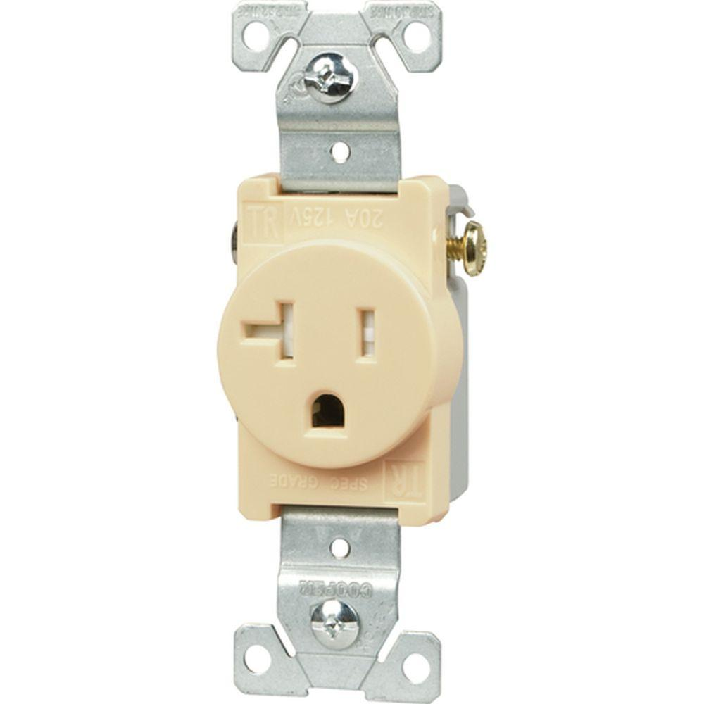 Eaton Commercial Grade 20 Amp Straight Blade Single Receptacle With Wiring Home Depot Free Download Diagrams Pictures Tamper Resistant 2 Pole Side Ivory