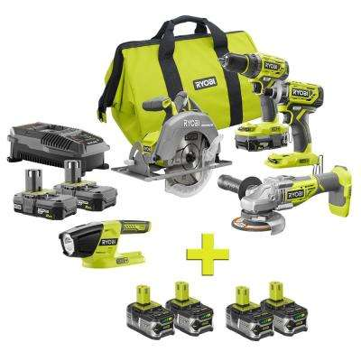 18-Volt ONE+ Lithium-Ion Cordless Brushless 5-Tool Combo Kit w/ Bonus (4) 4.0 LITHIUM+ Lithium-Ion Batteries