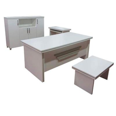 Modern New Star 71 in. White Wood Desk Office Suite Furniture (Set of 5)