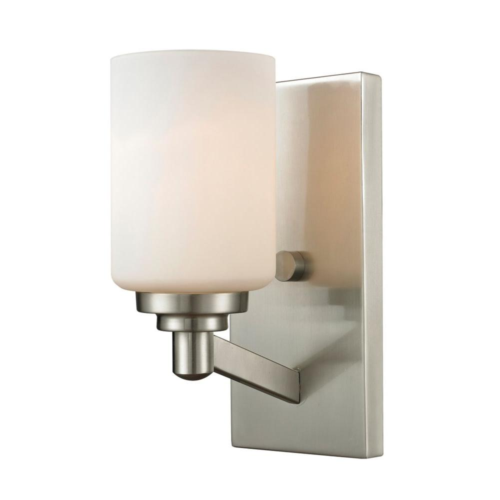 Filament Design Chic 1 Light Brushed Nickel Sconce Cli Jb 036381 The Home Depot