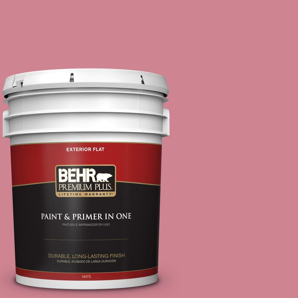 BEHR Premium Plus 5-gal. #130D-4 Rose Sachet Flat Exterior Paint
