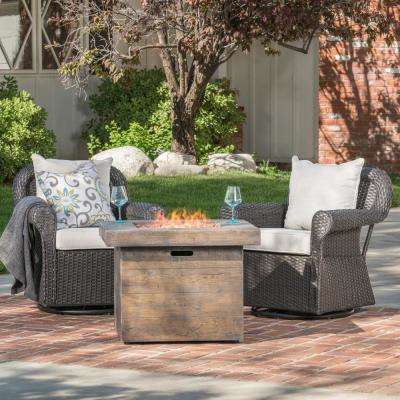 Bonnie 3-Piece Wicker Patio Fire Pit Conversation Set with Beige Cushions