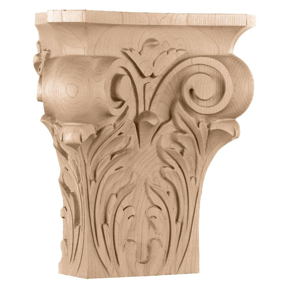 Ekena Millwork 4-1/2 in. x 9-1/4 in. x 10 in. Large Square Onlay Acanthus Capital
