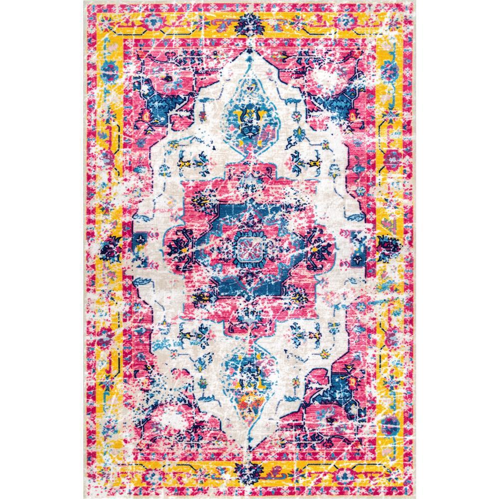 Nuloom Washable Rugs: NuLOOM Vintage Devito Pink Multi 5 Ft. X 8 Ft. Area Rug