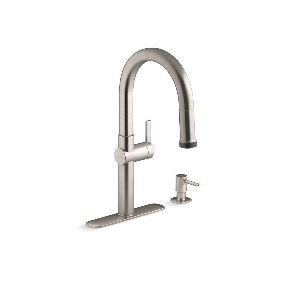 Kohler Rune Single Handle Pull Down Sprayer Kitchen Faucet In Vibrant Stainless