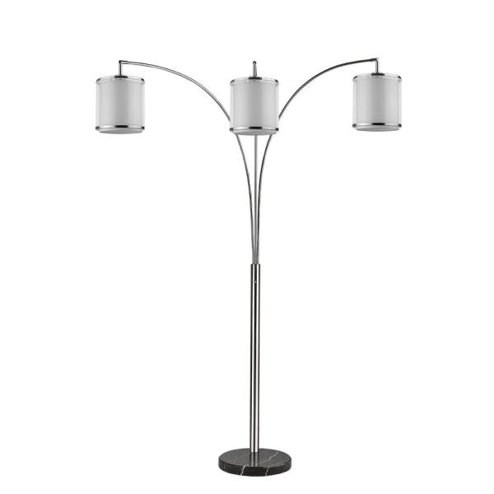 Lux 81 in. 3-Light Brushed Nickel Adjustable Tree Floor Lamp with Sheer Snow Shantung 2-Tier Shades