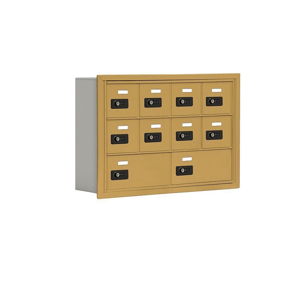 19000 Series 30.5 in. W x 20 in. H x 5.75 in. D 8 A / 2 B Doors R-Mount Resettable Locks Cell Phone Locker in Gold
