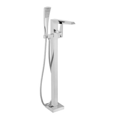 Single-Handle Freestanding Tub Faucet with Hand Shower in Polished Chrome