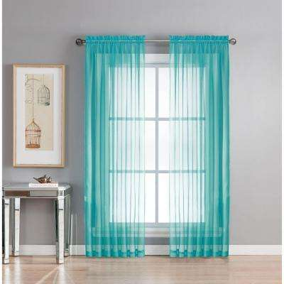 Sheer Diamond Sheer Voile Extra Wide 84 in. L Rod Pocket Curtain Panel Pair, Turquoise (Set of 2)