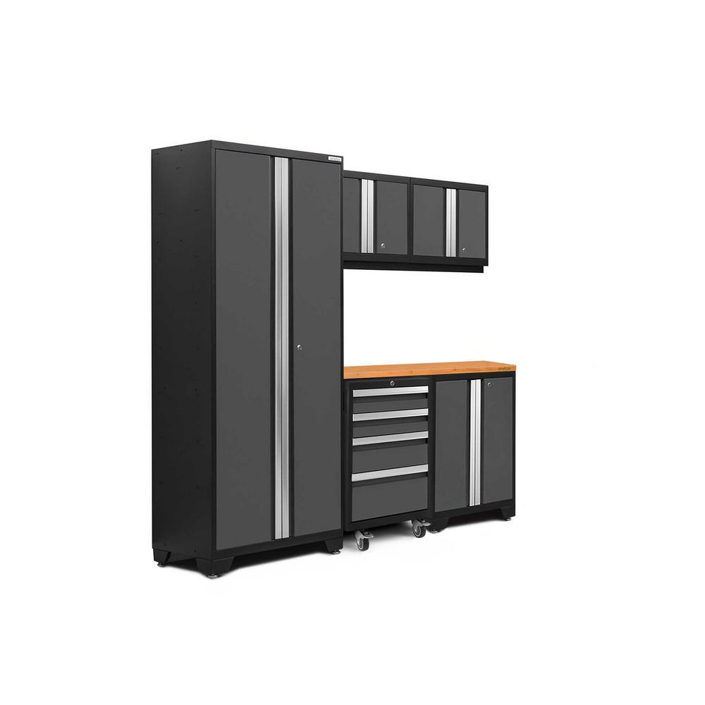 Bold 3.0 77.25 in. H x 78 in. W x 18 in. D 24-Gauge Welded Steel Bamboo Worktop Cabinet Set in Gray (6-Piece)