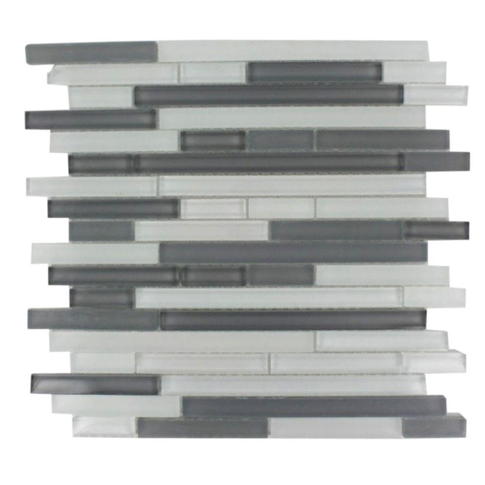 Splashback tile temple midnight 12 in x 12 in x 8 mm for Installing glass tile with mesh back
