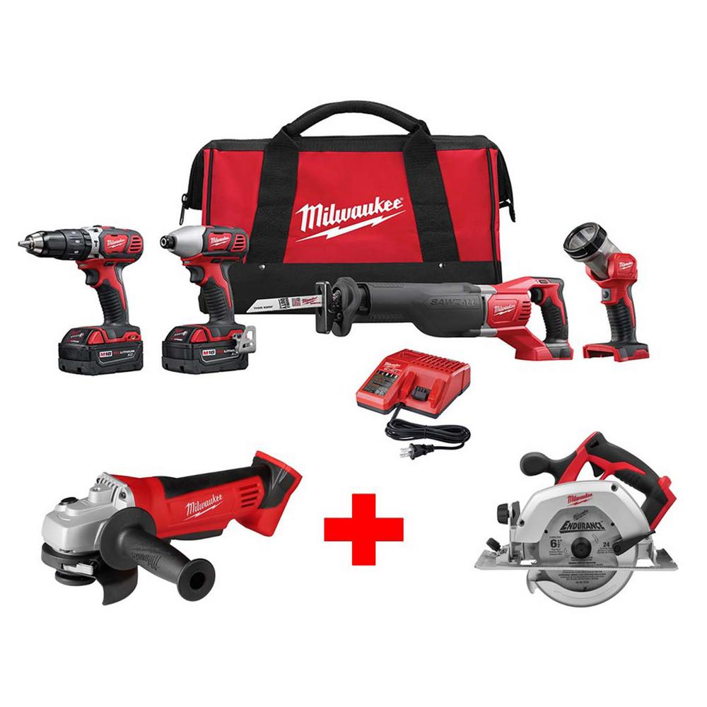 Milwaukee M18 18-Volt Lithium-Ion Cordless Combo Tool Kit (4-Tool) with Free M18 Cut-Off/Grinder and 6-1/2 in. Circular Saw
