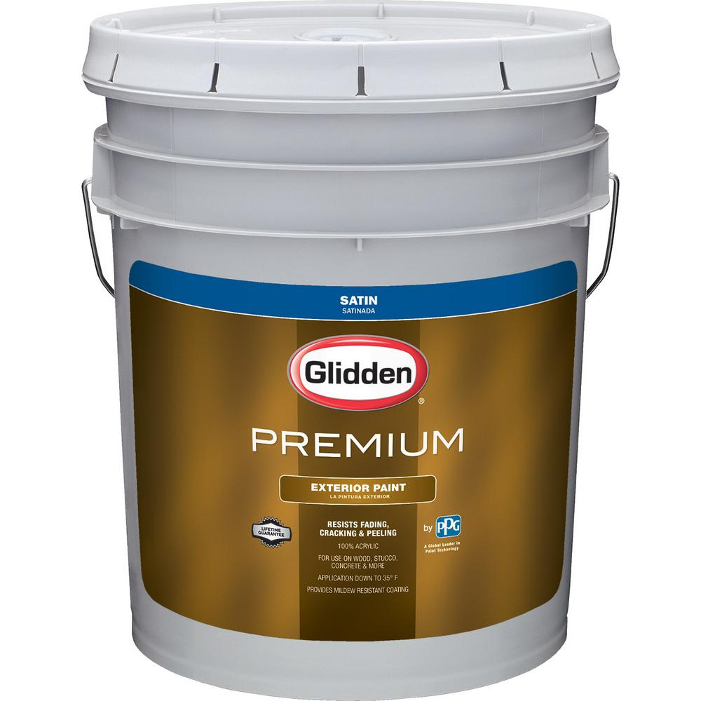 glidden premium 5 gal satin latex exterior paint gl6912 05 the home depot