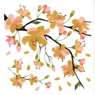 24.6 in. x 12.3 in. Yellow Branch Wall Decal