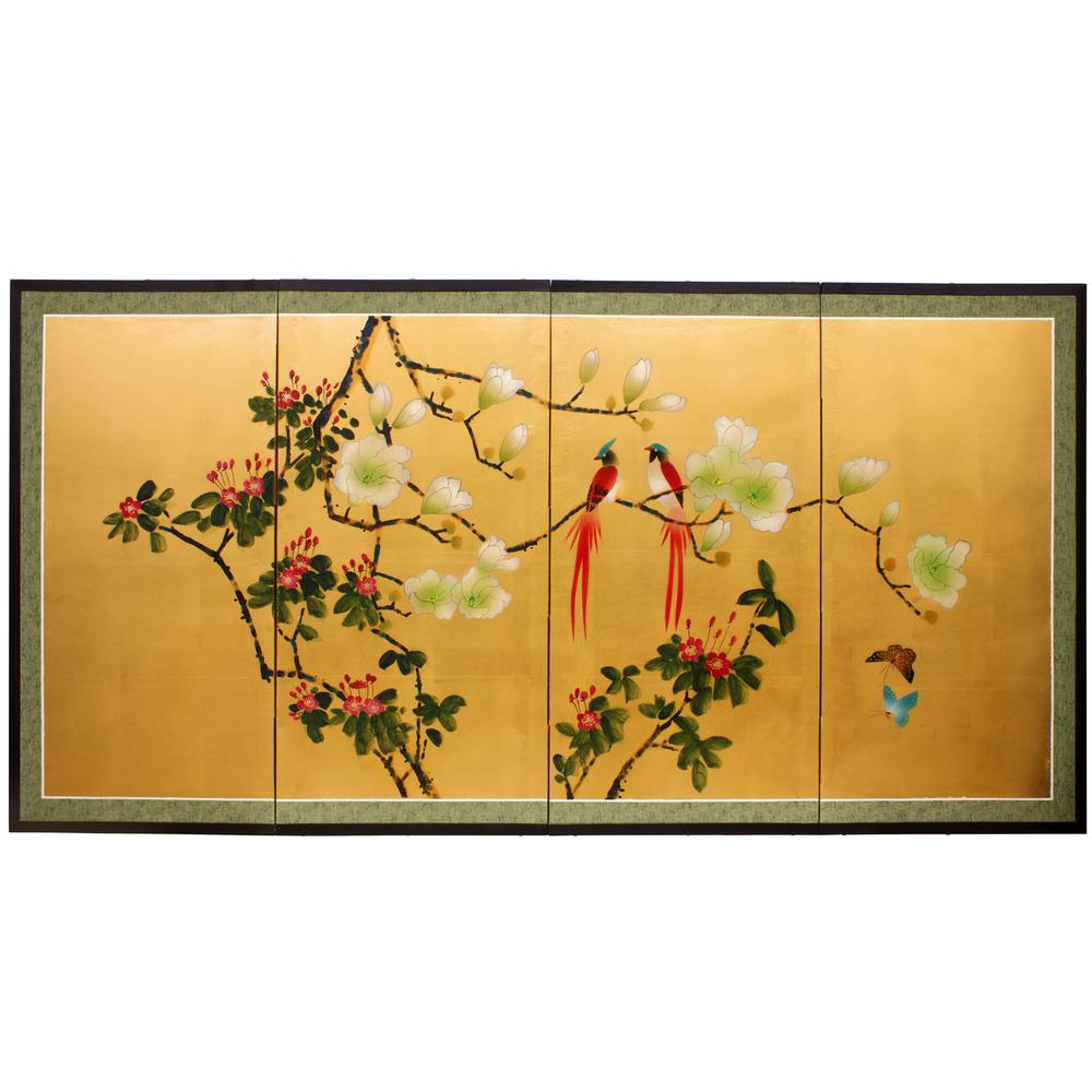 72 In X 36 In Love Birds On Traditional Gold Leaf Wall Art