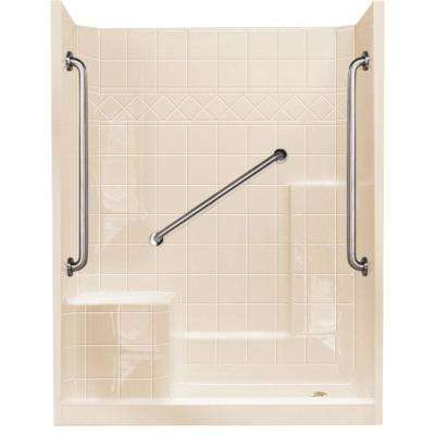 32 in. x 60 in. x 77 in. Standard Plus 36 Low Threshold 3-Piece Shower Kit in Bone with Left Seat and Right Drain