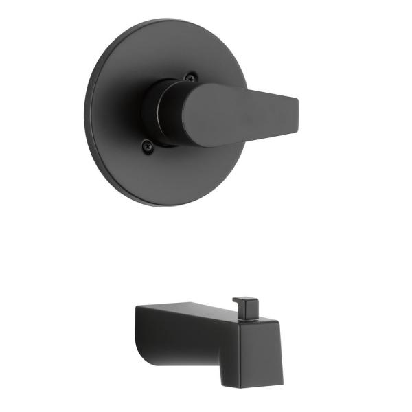 Xander 1-Handle Wall Mount Tub Trim Kit in Matte Black (Valve not Included)