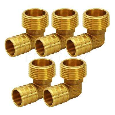 1/2 in. Brass PEX Barb x 3/4 in. MIP 90-Degree Elbow Pipe Fitting (5-Pack)