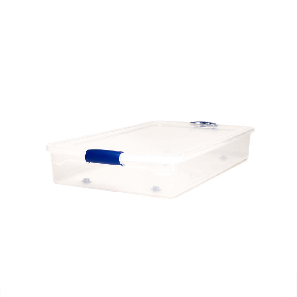 60 Qt. Twin/King Under Bed Latching Clear Storage Box (2-Pack)