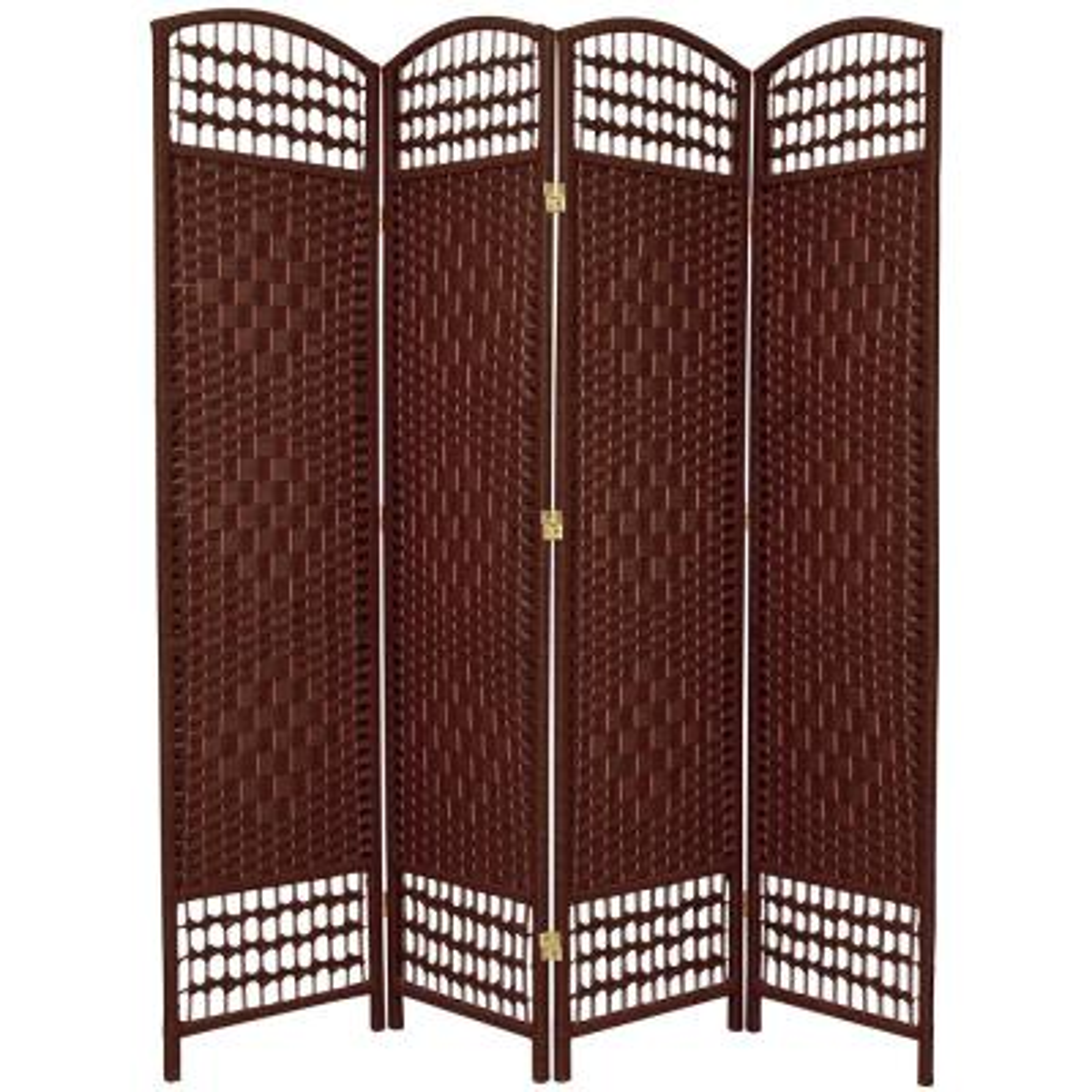 6 ft. Dark Red 4-Panel Room Divider