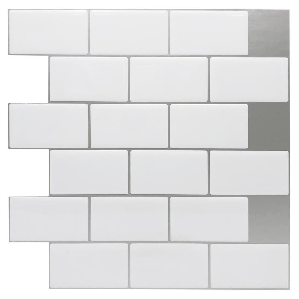 12 in. x 12 in. x 0.08 in. Peel and Stick Vinyl Subway Backsplash Tile in White (10-Pack)